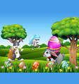 easter bunnies and easter egg on the nature vector image vector image