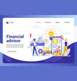 financial advisor landing page template vector image