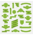 Green ribbons and label set in flat stylePart I vector image
