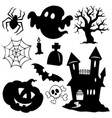 halloween silhouettes collection 1 vector image vector image