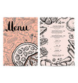 hand drawn restaurant menu design vector image vector image