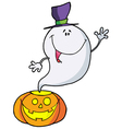 Happy Ghost Pumpkin Leaves vector image vector image