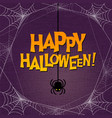 happy halloween typography and spider web border vector image vector image