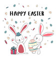 happy two bunny with cute eggs happy easter card vector image