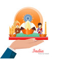 india travelling banner indian landmarks on hand vector image vector image