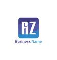 initial letter rz logo template design vector image