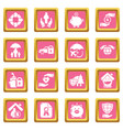 insurance icons set pink square vector image vector image