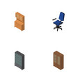 isometric furnishing set of office cupboard vector image
