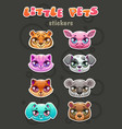 little cute cartoon animal faces vector image vector image
