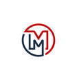 m letter circle line logo icon design vector image