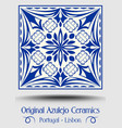 majolica pottery tile blue and white azulejo vector image vector image
