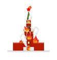 Moscow Kremlin afire National landmark Russia lit vector image vector image