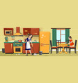 mother and girl cleaning kitchen together vector image vector image