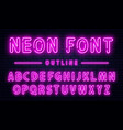 neon alphabet with numbers purple neon font vector image
