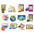 online payment devices icons transaction vector image vector image