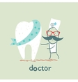 physician and patient tooth vector image
