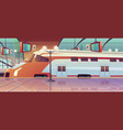 railway station with high speed train and platform vector image vector image