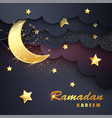 ramadan kareem background with moon stars vector image vector image
