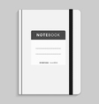 Realistic white copybook with elastic band bookmar vector image