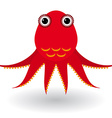 Red octopus on a white background vector image vector image