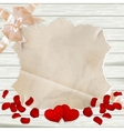 Roses petals on wooden background EPS 10 vector image vector image