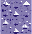 sailboats with anchors sharks fish and sea gulls vector image