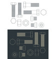 screws and nuts drawings set vector image