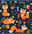 seamless pattern fox on purple background vector image vector image