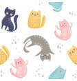 seamless pattern with cute colorful cats great vector image