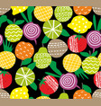seamless pattern with hand drawn fruits and vector image vector image