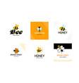 set logo for honey producer company cute striped vector image