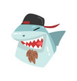 shark wearing baseball cap animal portrait vector image vector image