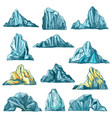 sketch icebergs mountain rocks and icy mounts vector image
