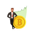 successful businessman near golden bitcoin vector image