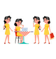 teen girl poses set funny friendship for vector image vector image