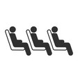 three passenger seating in the row in public vector image vector image