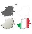 Turin blank detailed outline map set vector image vector image