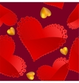 Valentines day pattern with red and gold hearts vector image vector image