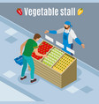 vegetables purchase isometric background vector image vector image