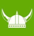 viking helmet icon green vector image
