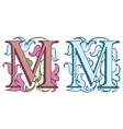 Vintage initials letter M vector image