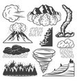 vintage natural disasters collection vector image vector image