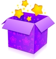 Violet magic box with yellow stars inside vector image