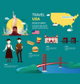 usa map and landmarks for traveling in united vector image