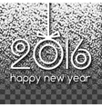 Happy New Year 2016 White Snowing Greeting Card vector image