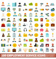 100 employment service icons set flat style vector image vector image