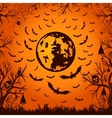 background for Halloween moon and bats vector image