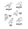 birds engraved style stamp seal simple sketch vector image vector image