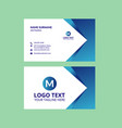 blue awesome business card template vector image vector image