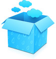Blue gift box with flying clouds vector image